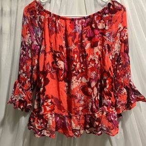 Lucky Brand FlorL Off the Shoulder Top size L